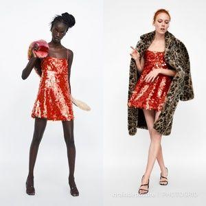 Zara Red Sequin Mini Slip Party Dress M XL